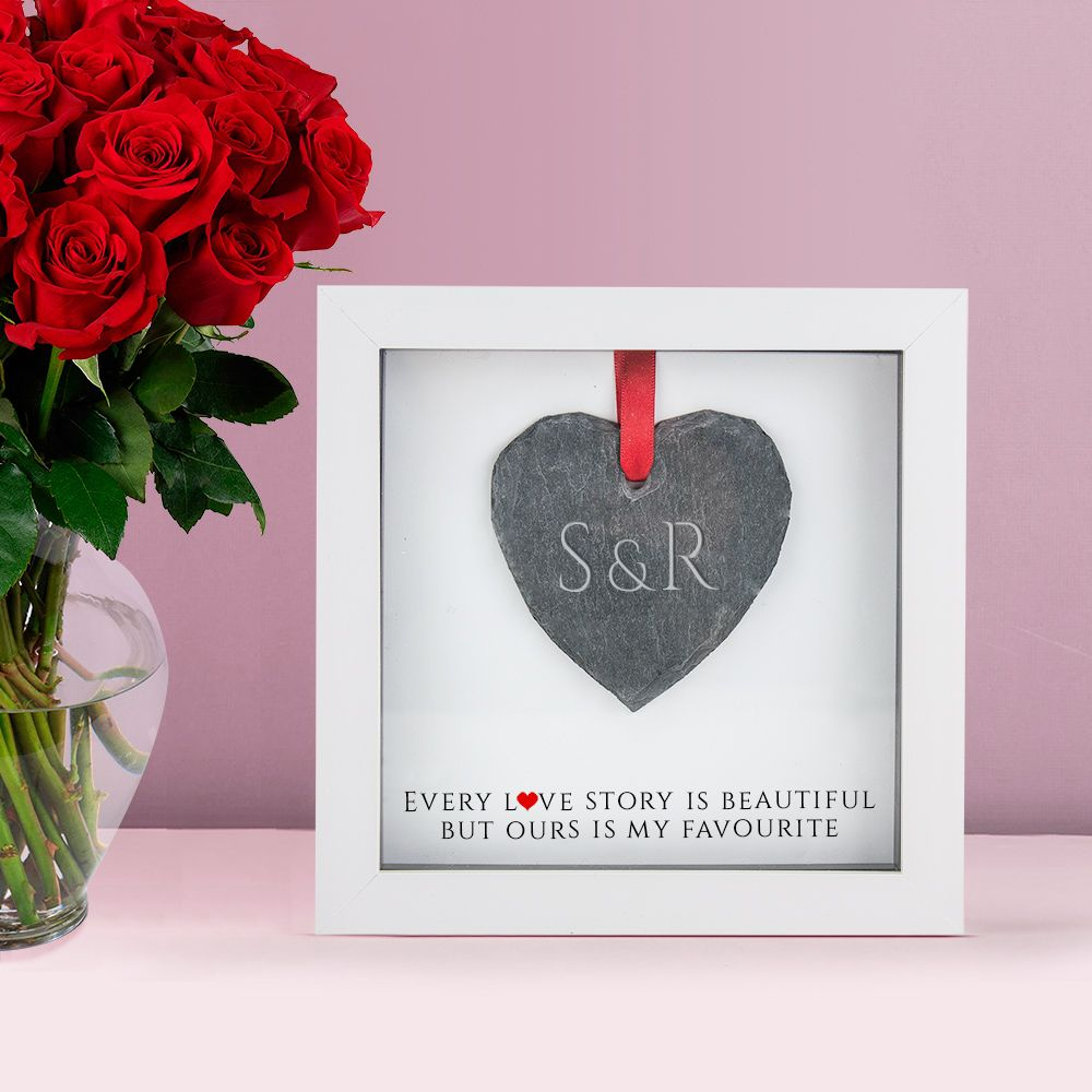 Personalised Box Frame with Engraved Slate Heart
