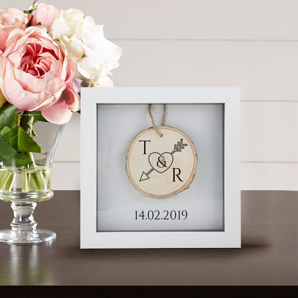Personalised Box Frame with Engraved Wooden Tree Slice