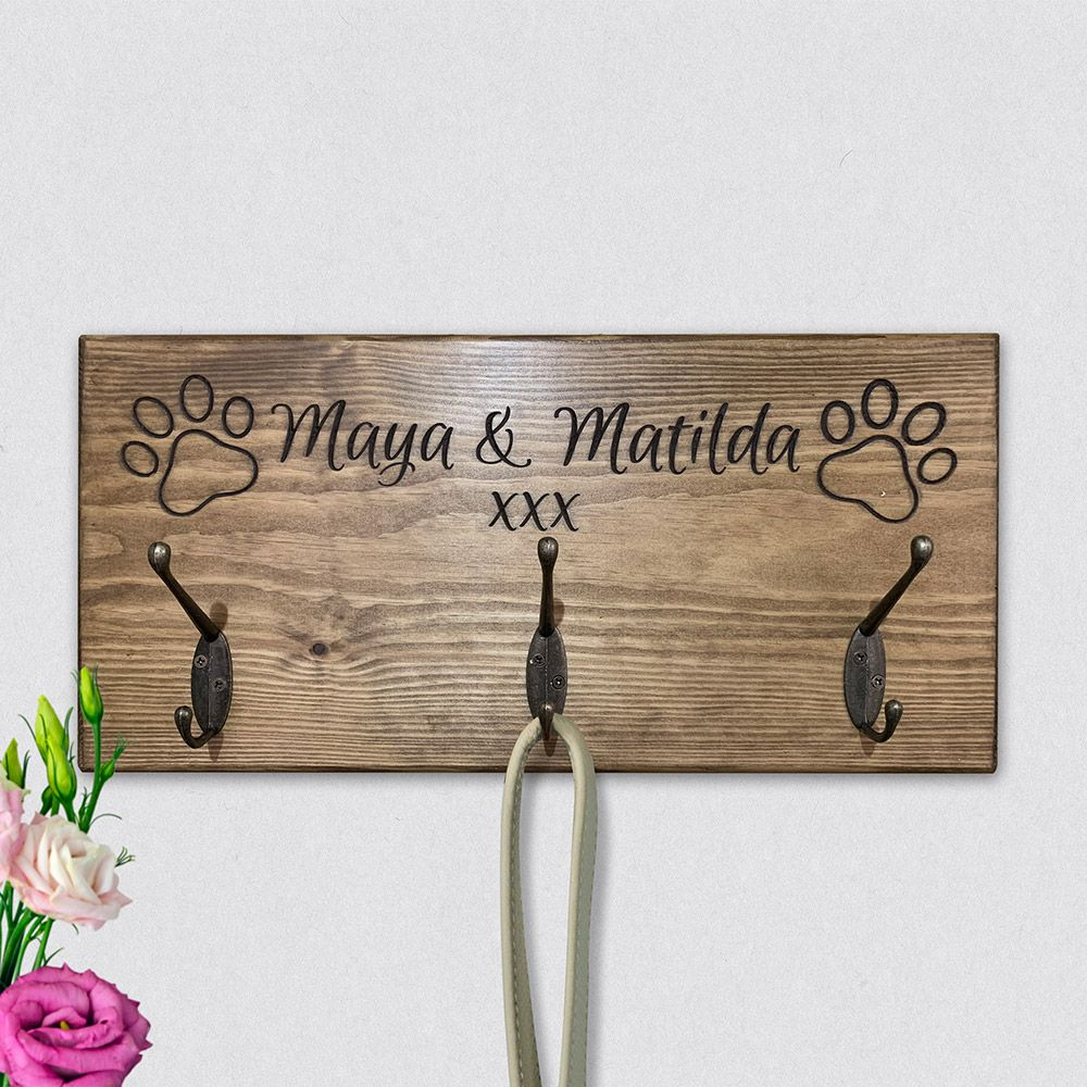 Personalised Engraved Wooden Dog Lead Holder