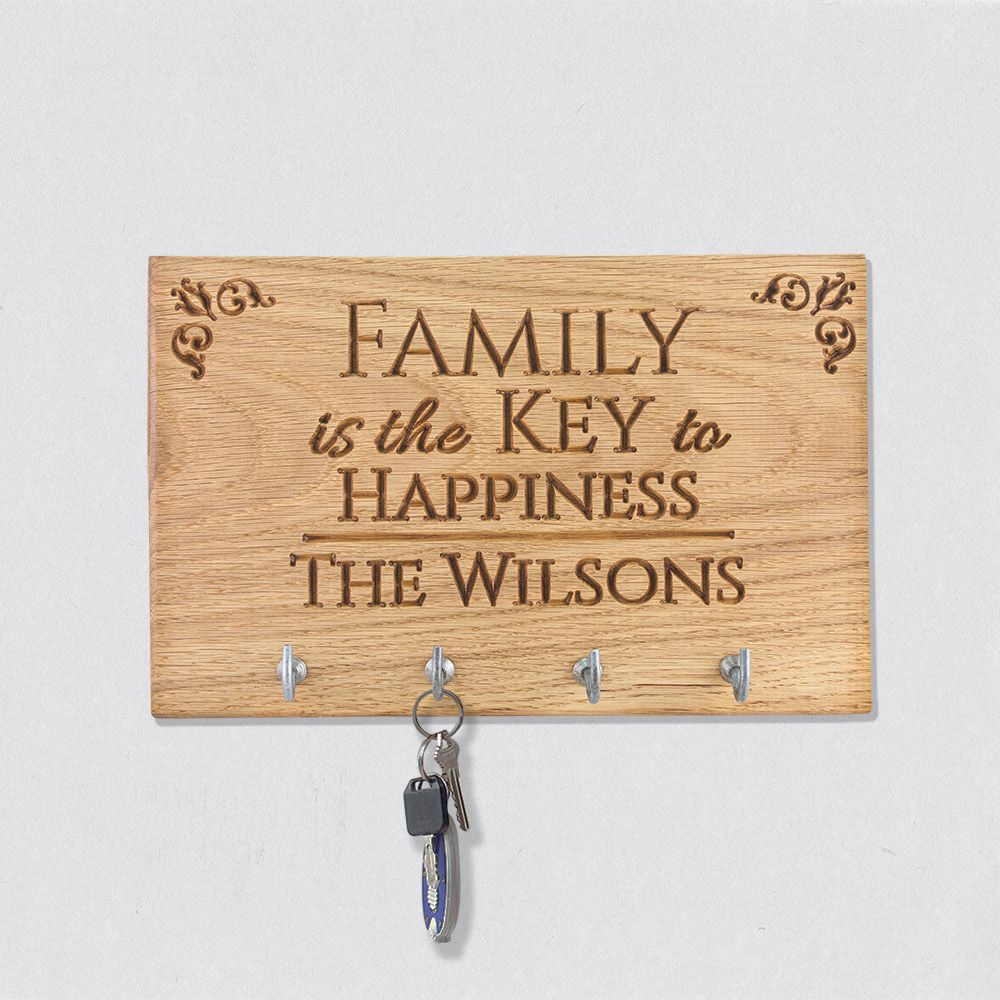 Personalised Oak Family Key Holder