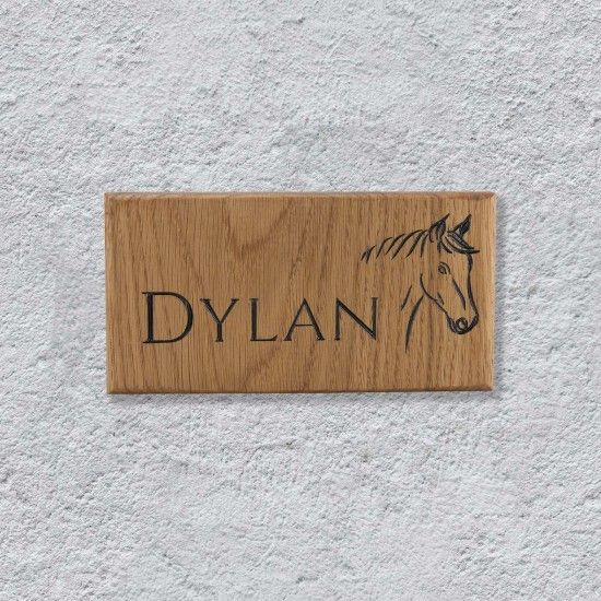 Personalised Oak Horse Name Sign