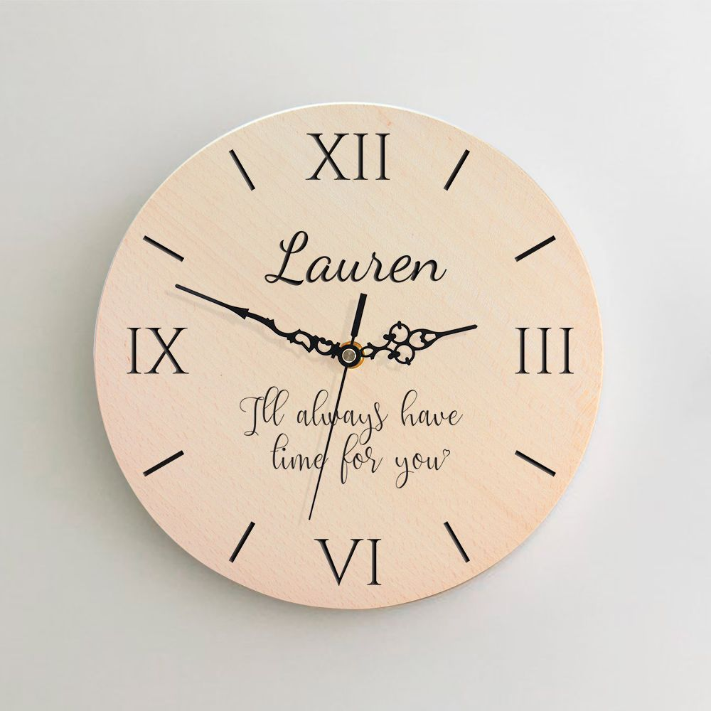 Personalised Round Wooden Clock with message