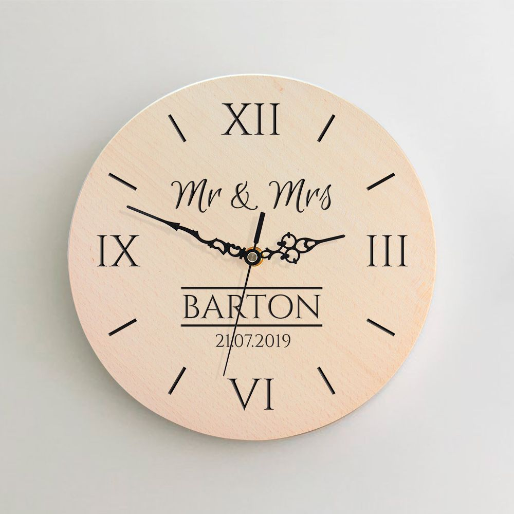 Personalised Wooden Wedding Clock